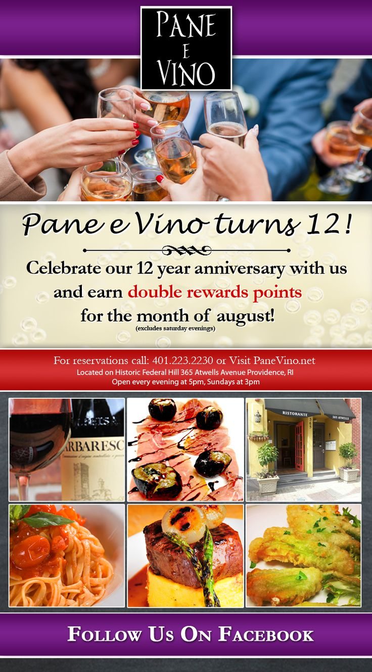 Celebrate our 12 year anniversary with us during the month of August and receive DOUBLE Rewards Points! Not a Rewards Member? Sign up and receive $20 on your birthday!