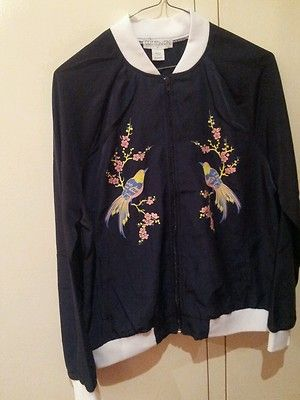 Bomber Jacket Orintal Print New Blue Girls Women'S | eBay