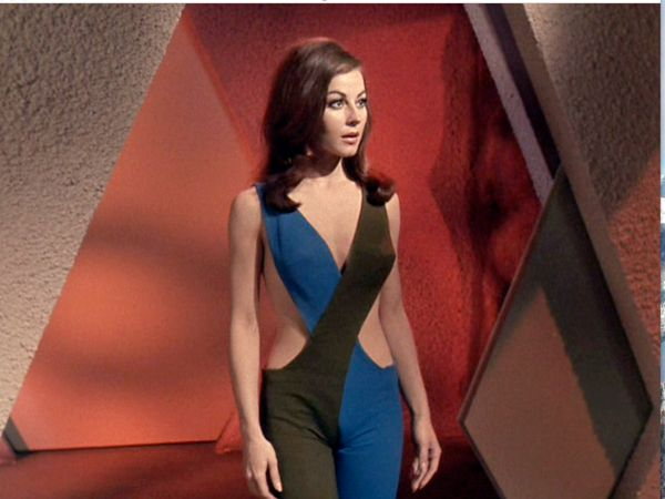 "Sherry Jackson as the android Andrea in the Star Trek episode ""What Are Little Girls Made Of?"" Very busy episode, but it was hard to notice anything else when Ms. Jackson was on screen. And yes, Kirk makes out with her. You have to believe Shatner loved his job."