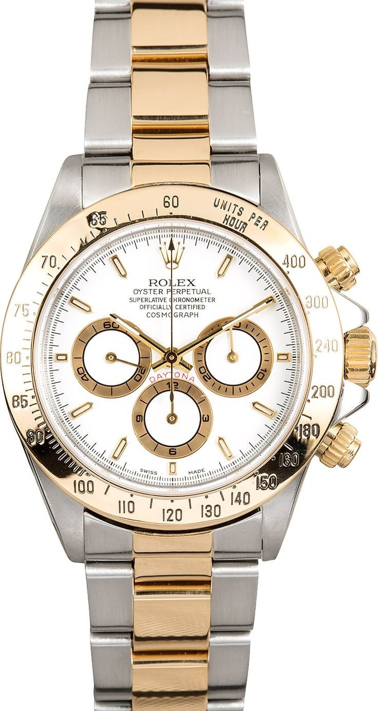 Manufacturer: Rolex   Model: Daytona 16523   Serial/Year: A - 1999-2000   Grade: (What's This?) II   Gender: Men's   Features: Automatic 4030 Zenith movement, chronograph, scratch-resistant sapphire crystal, 44 jewels, waterproof screw-down crown   Case: Stainless steel w/ 18k yellow gold engraved tachymeter bezel (40mm)   Dial: White w/ gold sub-dials   Bracelet: Stainless steel and 18k yellow gold Oyster w/ Oysterlock clasp   Box & Papers: Original R...