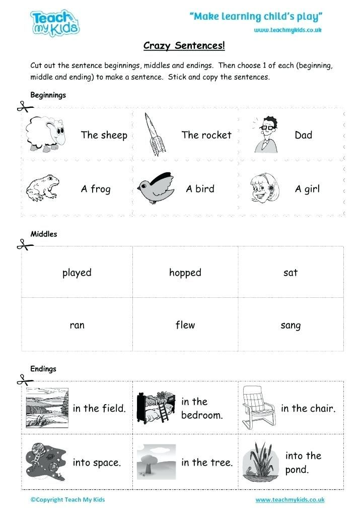 Worksheets For Kids Crazy Sentences Education Copying Kindergarten