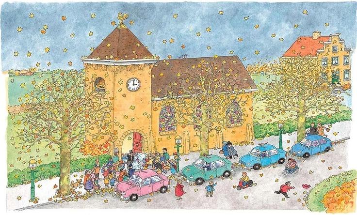 Praatplaat Bas - Kerk (Getekend door Dagmar Stam)
