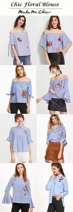 Blue Striped Off The Shoulder Tie Sleeve Top With Patch. Floral Blouses.