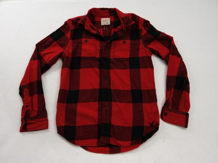 New American Eagle AEO Mens #8876 Red & Black Plaid Heritage Thermal Shirt Small #AmericanEagleOutfitters #ButtonFront