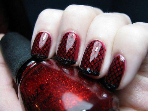 red & black: Redblack, Nails Art, Nails Design, China Glaze, Black Nails, Red Nails, Nails Polish, Fishnet Nails, Red Black
