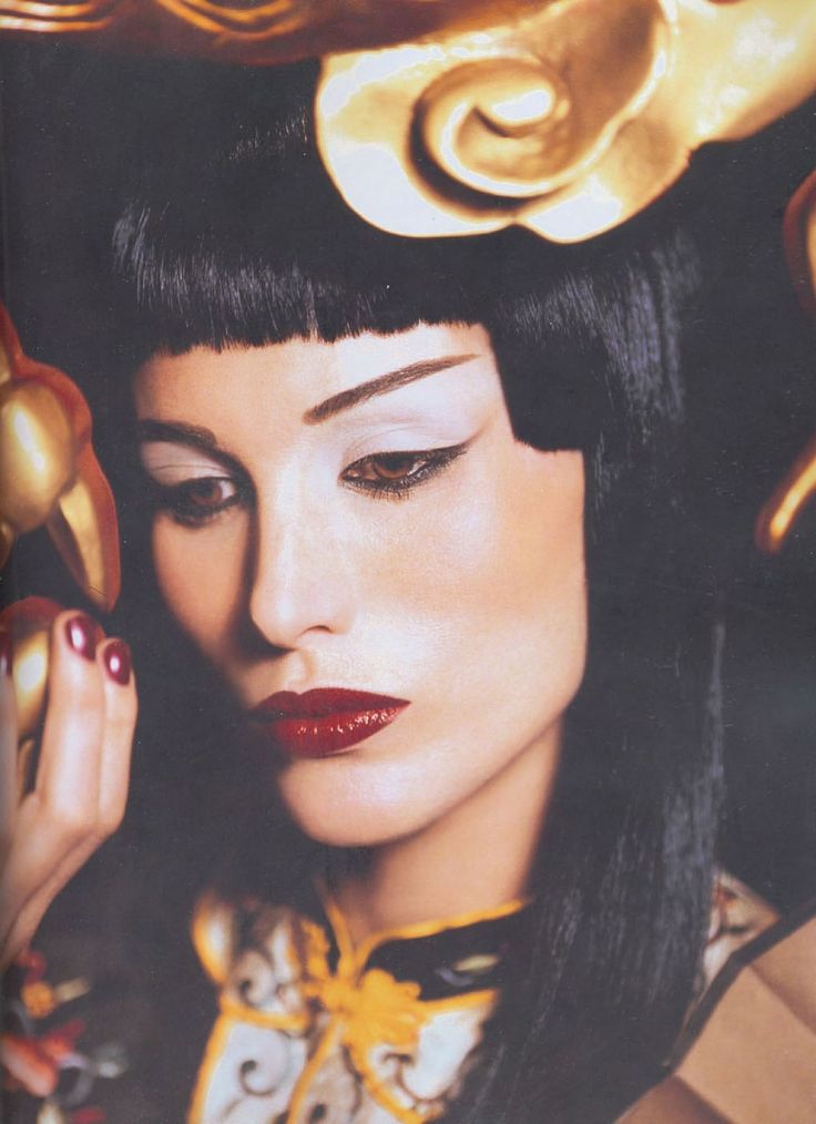 Andie MacDowell as Anna May Wong, makeup by Kevyn Aucoin
