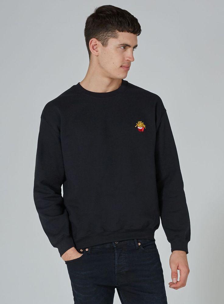 Black 'Fries' Embroidered Sweatshirt