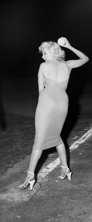 Marilyn at the Out Of This World Series Charity Baseball Game at Gilmore Field Stadium, September 15, 1952.
