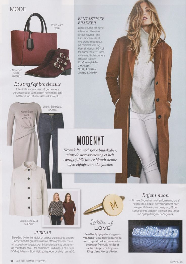 Alt For Damerne, issue 33. Thank you for a nice mentioning of our 30 year anniversary and for showing aw16 styles.  Ready to wear wool jersey dress with wrap detail in left waistline, denim bootcut and little winter white boxy jacket.