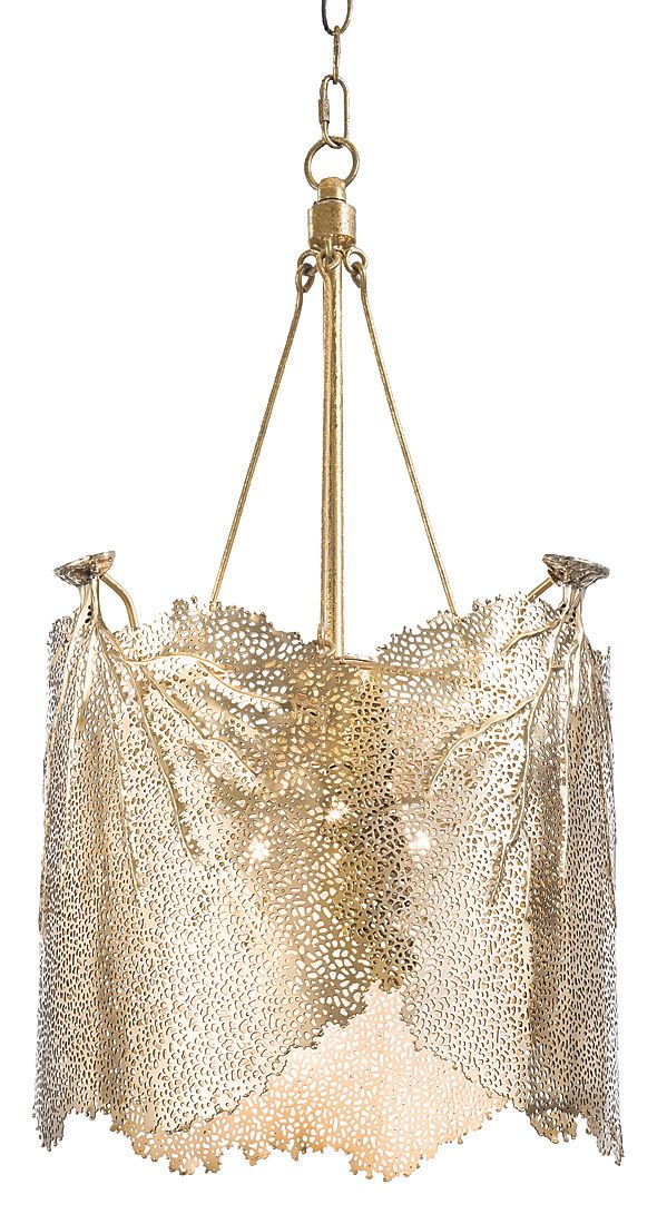 Sea Fan chandelier's shiny brass shade lets the light pass through. #HPmkt Regina Andrew Design IH 006- InterHall IHFC