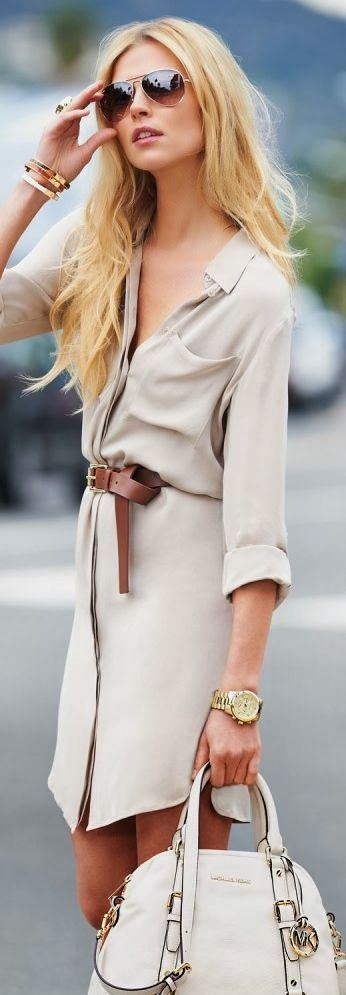 A tan belt and bold gold embellishment take this shirt dress from plain to stunning.