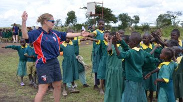 England spinner Holly Colvin coaching Kenyan children, Kenya - Holly was the face of CWB for World AIDS day