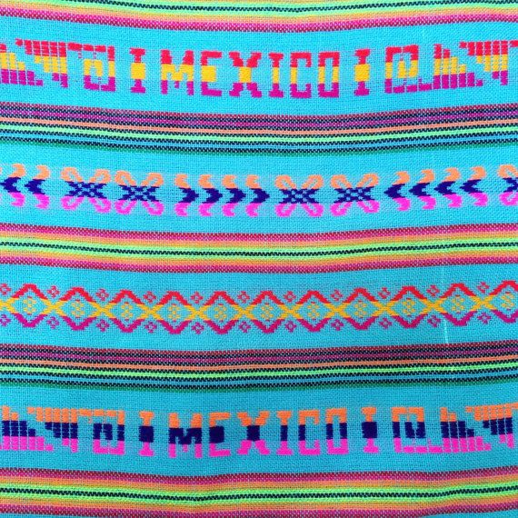 Blue Aztec Fabric 3 yards Mexican Tribal by NellywithWings