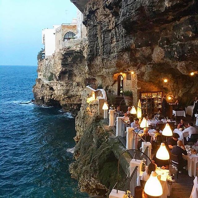 Follow @globefever for more. Grotta Palazzese, Polignano a Mare, Bari 🇮🇹 Photo by @virginiabartolucci