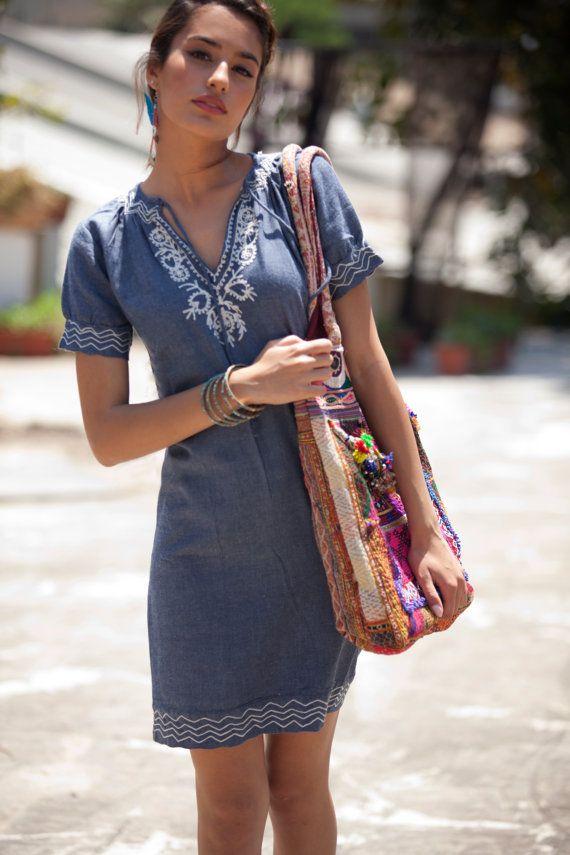 Cotton Kaftan  Jeans Caftan Denim Anabella by AnabellaWomen
