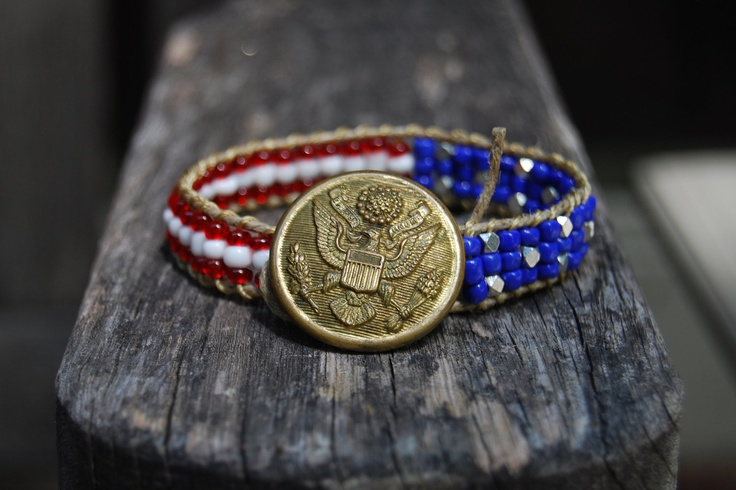 Team USA Wrapped Hemp Bracelet with Glass & Silver Beads and Vintage US Military Uniform Button - Summer Olympics London 2012 Red White Blue. $29.00, via Etsy.Summer Olympics, Silver Beads, London 2012, Olympics London, Olympics Dreams, 2012 Red, Hemp Bracelets, Military Uniforms, Red White