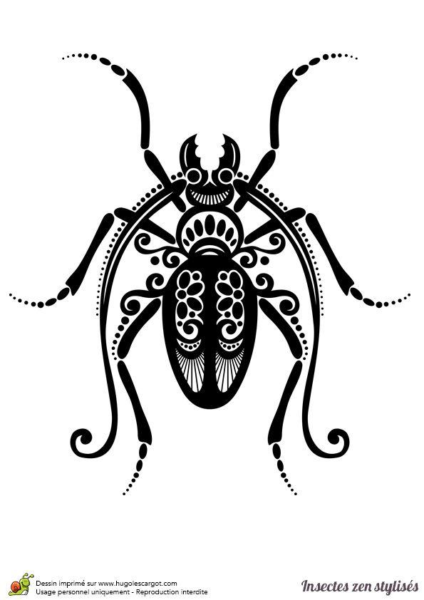 Un coléoptère version zen stylisée à colorier