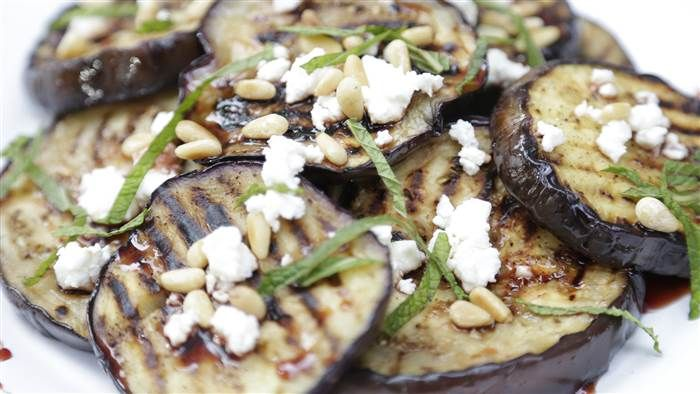 Grilled eggplant with pomegranate molasses is the perfect summer side