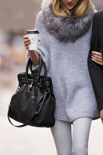 Gray poncho sweater & fur scarf