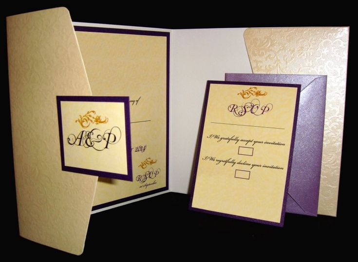Ivory embossed pocketfold envelope matched with purple backing card and topped with an ivory insert. www.justaddyou.ie