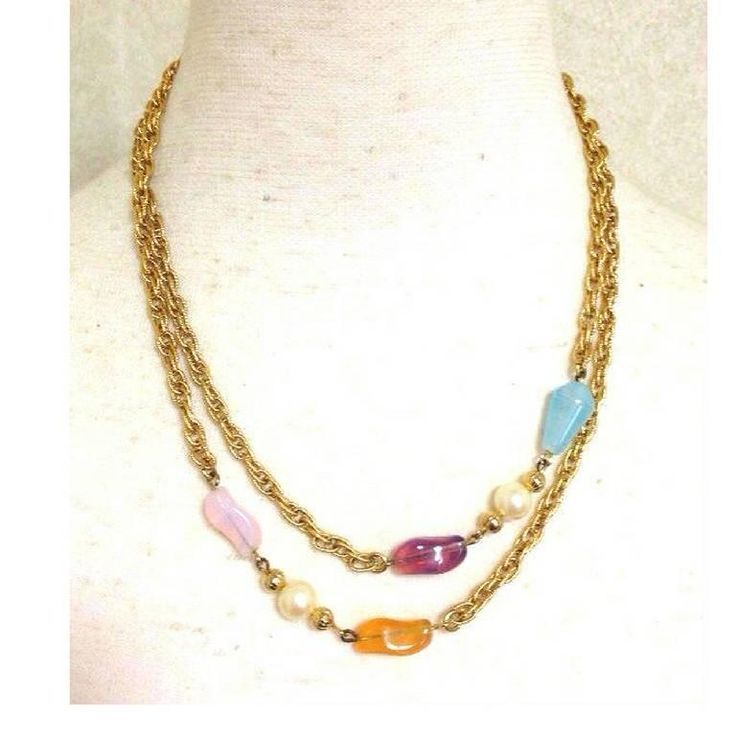 MINT. Vintage Givenchy, Paris, New York golden long chain necklace. 1990