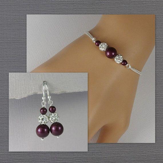 Blackberry Plum Pearl Bridesmaid Bracelet Set, Bridesmaid Jewelry, Plum Bridesmaid Gift, Bracelet and Earrings, Plum Wedding Jewelry Set