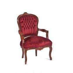 Poltrona barocco Luigi XVI tessuto legno marrone rosso bordeaux