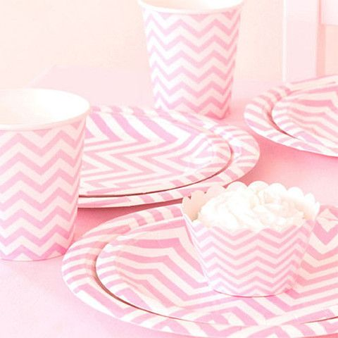 Light Pink Chevron Tableware Set | The TomKat Studio Shop - Bridal Shower, Baby Shower, Adult Birthday, Mother's Day, Graduation, Bat Mitzvah (($))