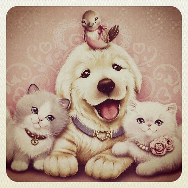 Cute puppy, little bird, and 2 kittens drawing by Tati Ferrigno