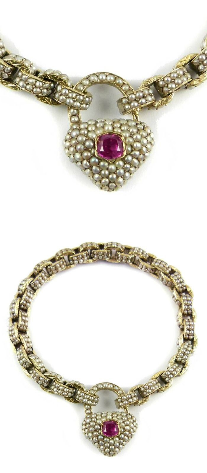 19th Century Seed Pearl Chain Bracelet And Heart Locket Clasp With Ruby,  French C