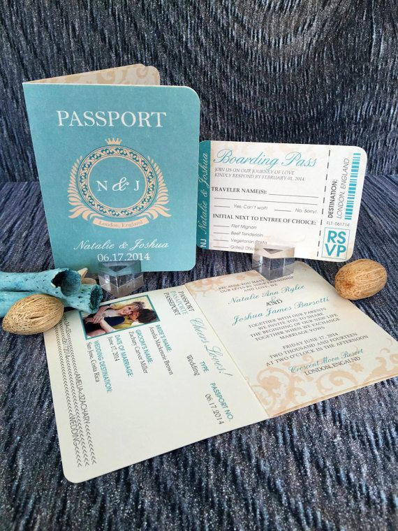 Passport Wedding Invitation, Classic Style Wedding Invitation, Beach Wedding Invitations, Wedding Invites - Invitation Sample Kit