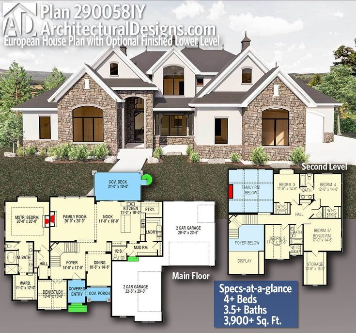 Plan 290058iy European House Plan With Optional Finished Lower Level In 2020 Floor Plan Design Building Design Design Build Firm