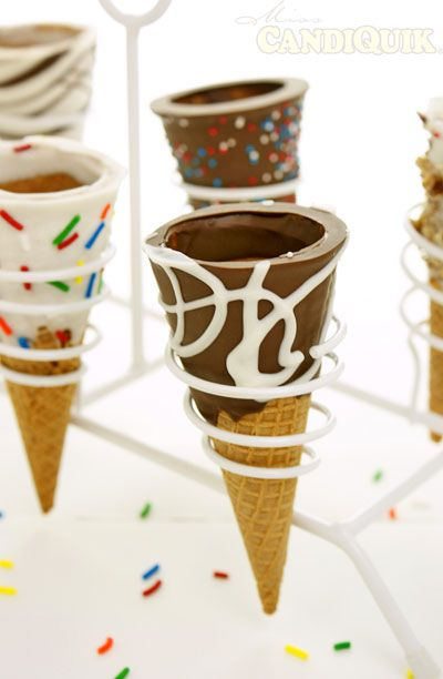 The Easiest Chocolate Dipped Ice Cream Cones - so much fun to made w/ the kiddos  - grab some cones, chocolate and vanilla candiquik, your choice of toppings and have fun! #kids #icecream | Follow @Melissa Squires Squires Squires Squires Squires Henson CandiQuik