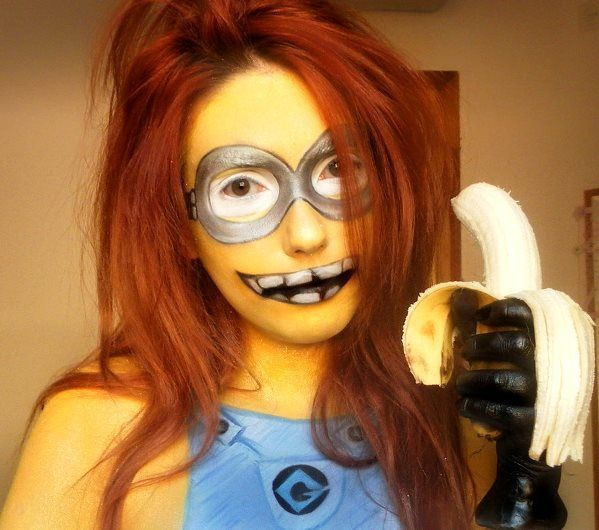 Funny Minion Makeup from the movie Despicable Me, Halloween Makeup Ideas for Women, Men and Kids