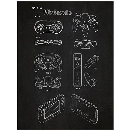Nintendo Controllers Design Patent Art Poster 18 x 24 inch Silk Screen Print - Chalkboard