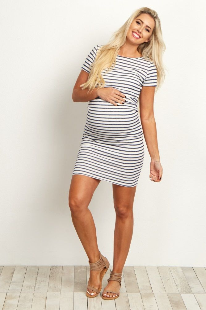 Ivory Navy Blue Striped Fitted Short Sleeve Dress Everly Maternity Dresses Maternity Fashion Pregnancy