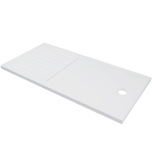This 1600 x 800 walk in rectangular shower tray comes complete with a drying area - making this the ideal addition to your walk in suite.