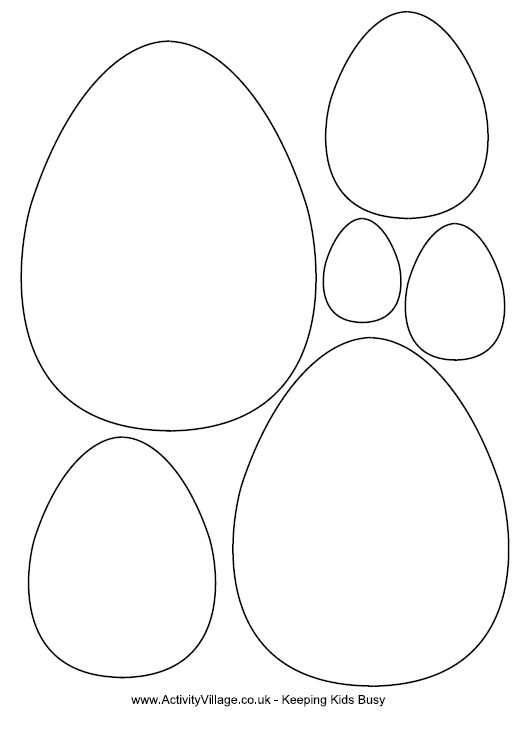 Useful egg templates for Easter crafts. Tip: Save the PDF before printing or it might not print correctly.