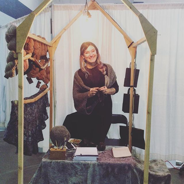 The wonderful Caitlin Ffrench at her We Will Tell You All Of Our Secrets booth #knitcity2016 #yvr
