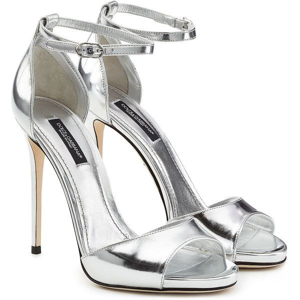 Dolce & Gabbana Metallic Leather Stiletto Sandals ($485) ❤ liked on Polyvore featuring shoes, sandals, heels, silver, leather sandals, metallic heeled sandals, open toe stilettos, leather heeled sandals and heels stilettos