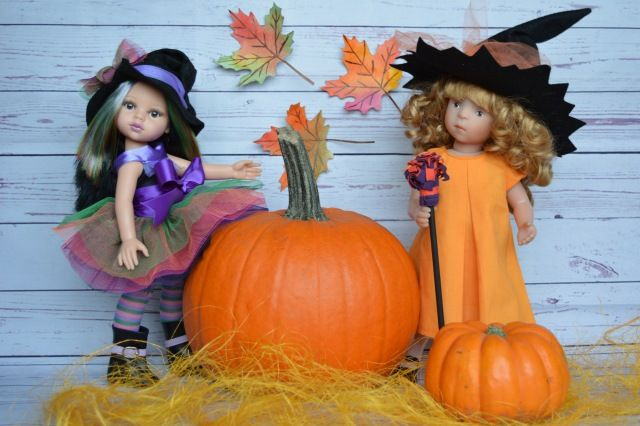 Немного волшебства на Хэллоуин / Куклы Sylvia Natterer, Minouche и другие. Kathe Kruse и Petitcollin / Бэйбики. Куклы фото. Одежда для кукол