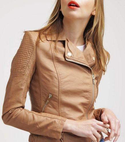 Miss Selfridge Kurtka ramoneska ze skóry ekologicznej brown