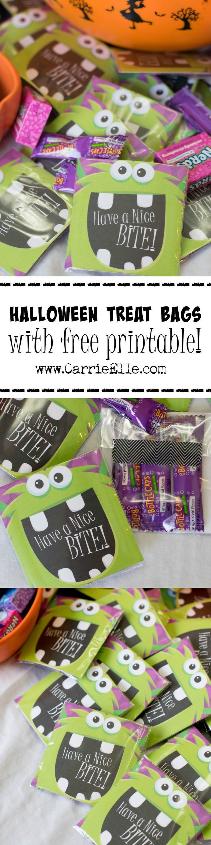 DIY Halloween Treat Bags - free Halloween printable included so you can make your own cute Halloween treat bags! These would also be perfect for a monster party! http://www.carrieelle.com