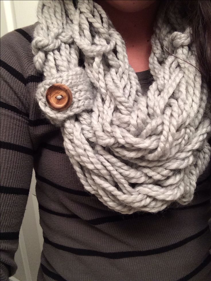 http://www.simplymaggie.com/how-to-arm-knit Arm Knitted scarf with a button loop. Guess I'm gonna have to learn how to arm knit, bc this is super cute