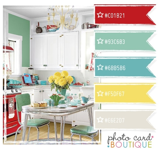 A little bit retro - tomato red, aqua, lemon yellow and teal blue. Great Color Combination