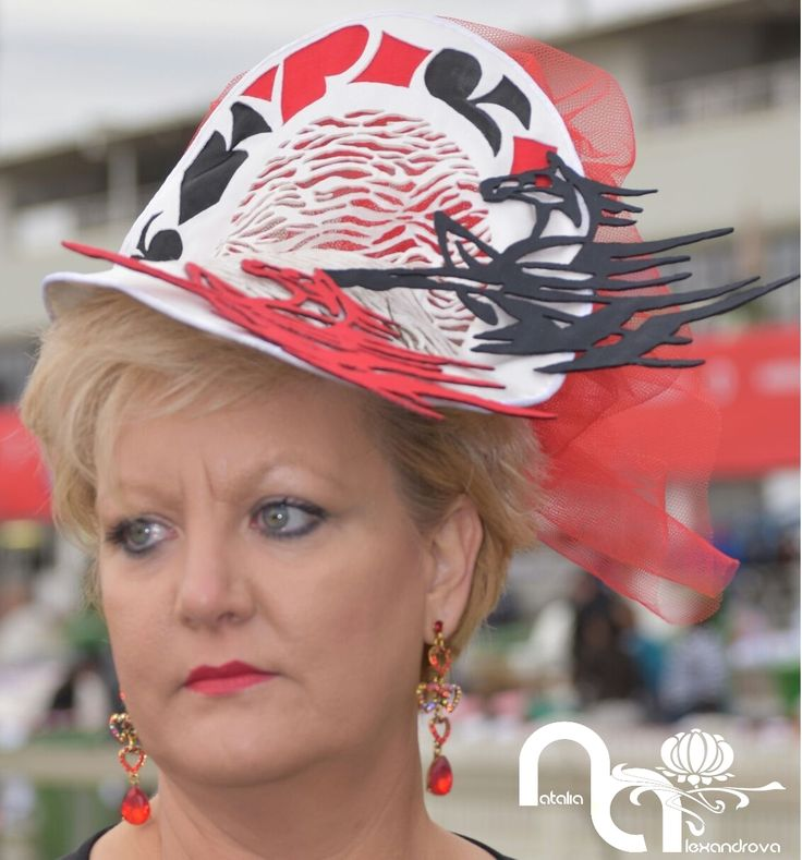 "Finalists of the ""Best Hat or Fascinator"" Competition Vodacom Durban July 2016. My fascinator "" I love horses"" in ""TOP 10"" VDJ 2016! Seen at Vodacom Durban July 2016 fashion theme ""Leader of the Pack"". The biggest horse racing – and fashion – events of the year.  Fascinator ""I love horses"" from  manually perforated fabric. Designed & handmade by Natalia Alexandrova"