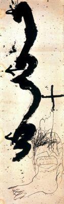 """Antoni Tàpies Puig (1923-2012) . """"1-2-3, 1995"""". Pintura sobre papel. 164 x 52 cm. Col. particular. Barcelona. España."""