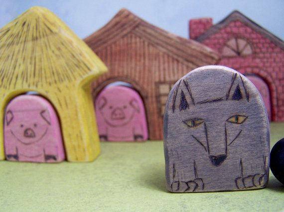 Wood Toy  Little Pigs and the Wolf  Fairy Tale Marble by MuddyFeet, $65.00
