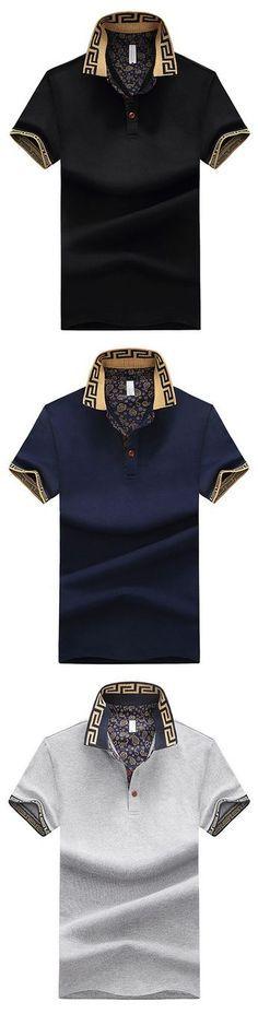 Mens Stylish Polo Shirt Printed Collar Short Sleeve Spring Summer Casual Tops