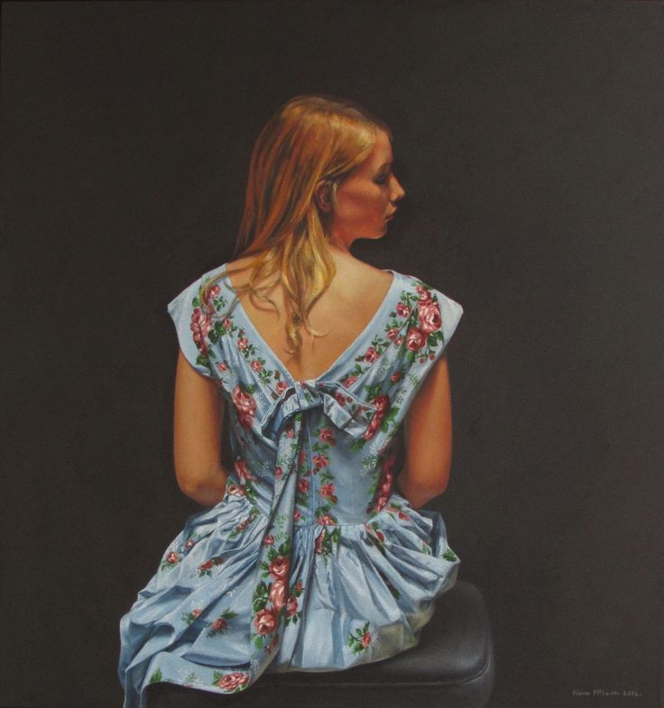 Diane McLean The party dress (2014) oil on canvas 910 x 860mm.